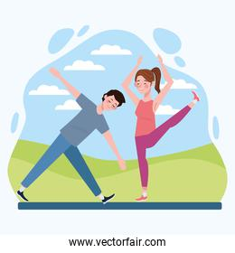 couple practicing exercise in the camp healthy lifestyle