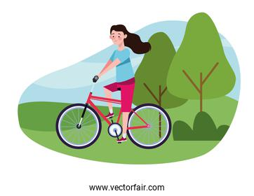 woman in bicycle on the camp character healthy lifestyle