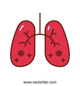 covid19 particles in human lungs flat style icon