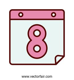 calendar with number eight women day flat style icon