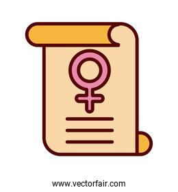 female gender symbol in parchment flat style icon
