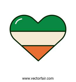 ireland flag colors in heart st patrick celebration icon