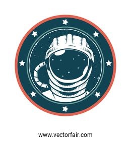astronaut helmet space drawn in seal icon