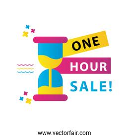 one hour sale countdown lettering with hourglass