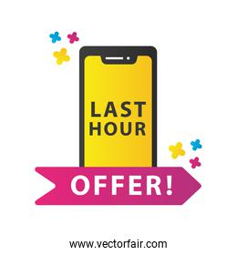 last hour offer sale countdown lettering with smartphone