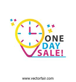 one day sale countdown lettering with watch