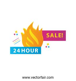24 hours sale countdown lettering with fire flames
