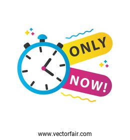 only now sale countdown lettering with chronometer