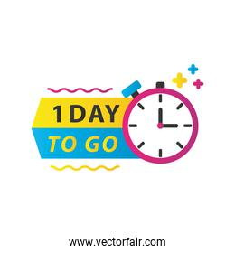 one day sale countdown lettering with chronometer timer