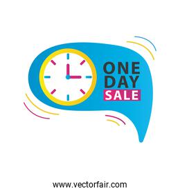 one day sale countdown lettering with watch in speech bubble