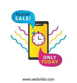 only today sale countdown lettering with smartphone