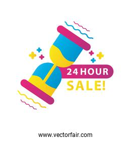 24 hours sale countdown lettering with hourglass