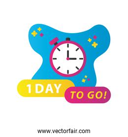 one day sale countdown lettering with timer chronometer