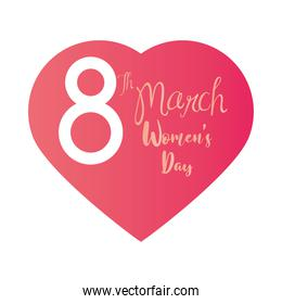 womens day 8 march hand drawn text in heart white background