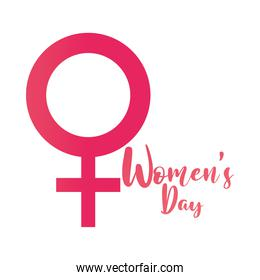 womens day handwritten lettering and gender female symbol white background