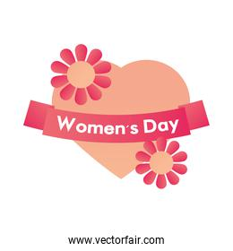 womens day heart and flowers love celebration white background