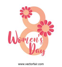 womens day 8 march flowers decoration card white background