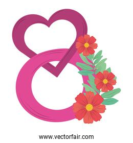 womens day pink heart flowers nature design vector