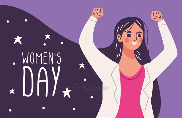womens day lettering, woman happy celebrating with hands up
