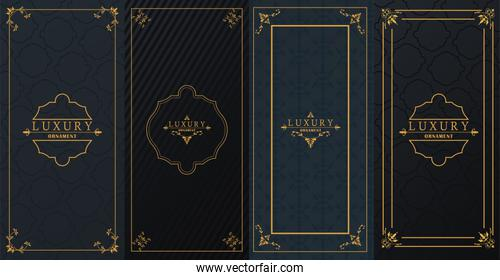 set of four luxury golden frames with victorian style in black background