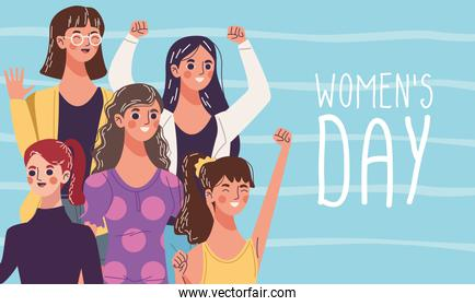 celebrating womens day, group of five young women characters