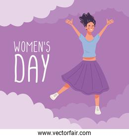 womens day lettering with young woman happy jumping character