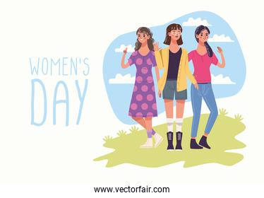 womens day with group of three young women characters