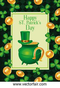 happy saint patricks day lettering with cauldron treasure and clovers and coins pattern