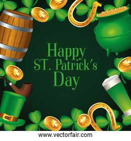 happy saint patricks day lettering with treasure cauldron and beers