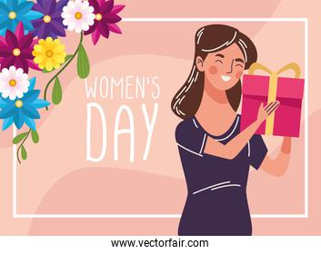 beautiful woman happy with gift and womens day lettering