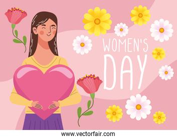 beautiful woman happy lifting heart and womens day lettering
