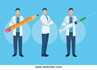 group of doctors characters with covid19 vaccine and pencil