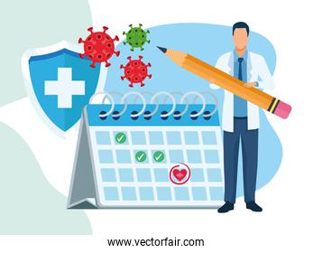doctor character with covid19 particles and calendar
