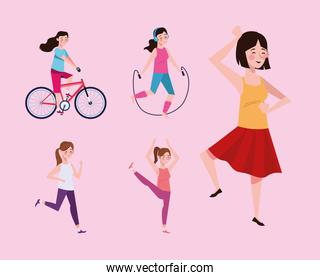 girls practicing exercises characters healthy lifestyle