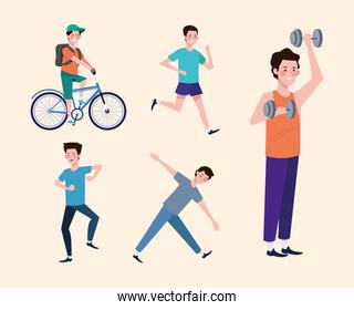 boys practicing exercises characters healthy lifestyle