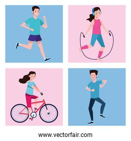 people practicing exercises characters healthy lifestyle