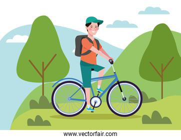 man in bicycle on the landscape healthy lifestyle