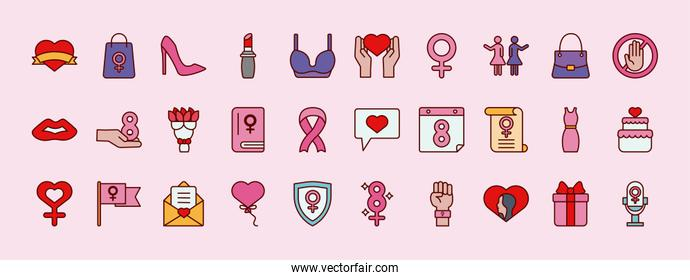 bundle of thirty womens day set icons