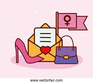 heart love symbol in envelope and women set icons