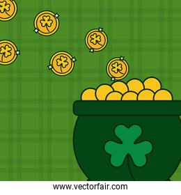 clover leaf in cauldron of treasure st patricks day in green background