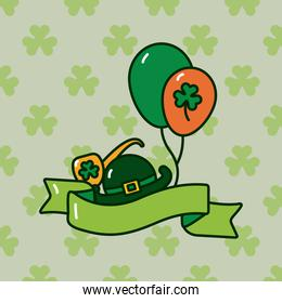 clover leaf in balloons helium with elf hat and pipe st patricks day