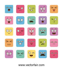 bundle of twenty five  cartoon  faces emoticons icons