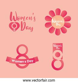 womens day icons lettering message 8 march flowers