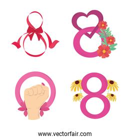 womens day, celebration eight march event icons set vector