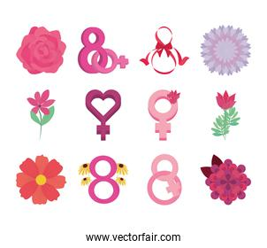 womens day international movement eight march flowers icons set vector