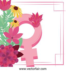 womens day pink gender female and flowers greeting card
