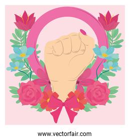 female hand raised flowers decoration, womens day greeting card