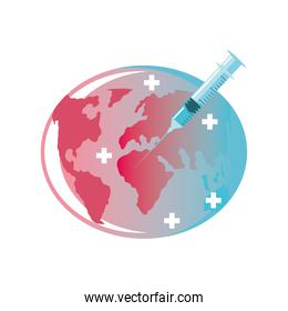 syringe of vaccine and needle injection on planet, protection against covid 19