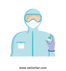 world vaccine, medical staff with protective suit and syringe