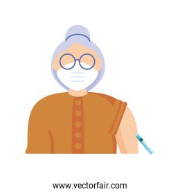 coronavirus vaccine to an elderly woman for immunity